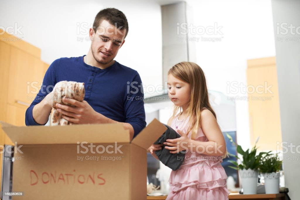 Teaching his daughter good values stock photo