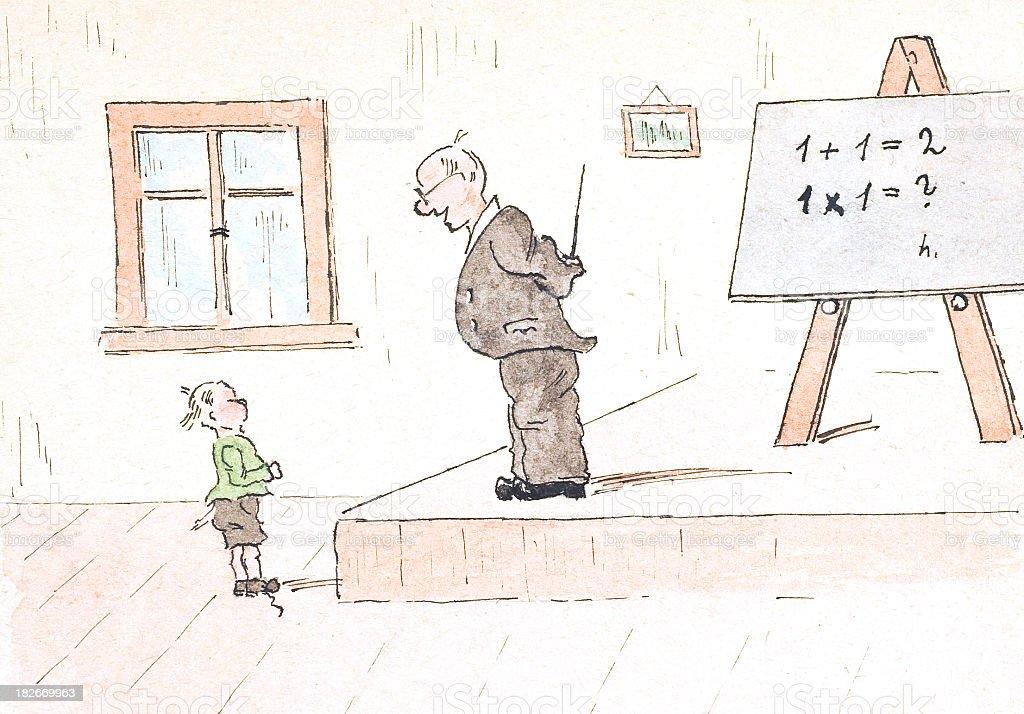 teaching illustration math comic royalty-free stock photo