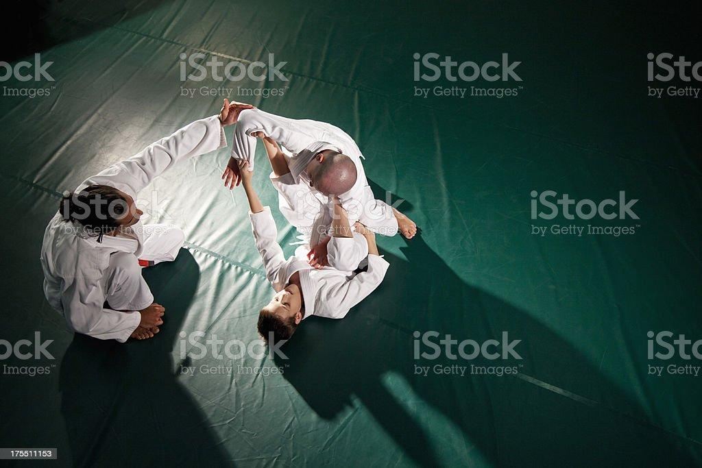 Teaching Jiu-Jitsu Spider Guard stock photo
