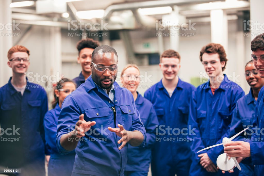Teaching the Class About Renewable Energy stock photo