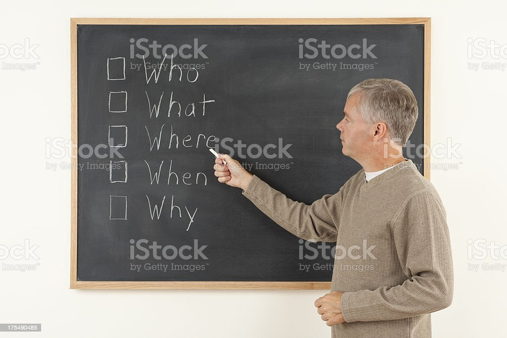 Teaching The Five Ws of Writing stock photo