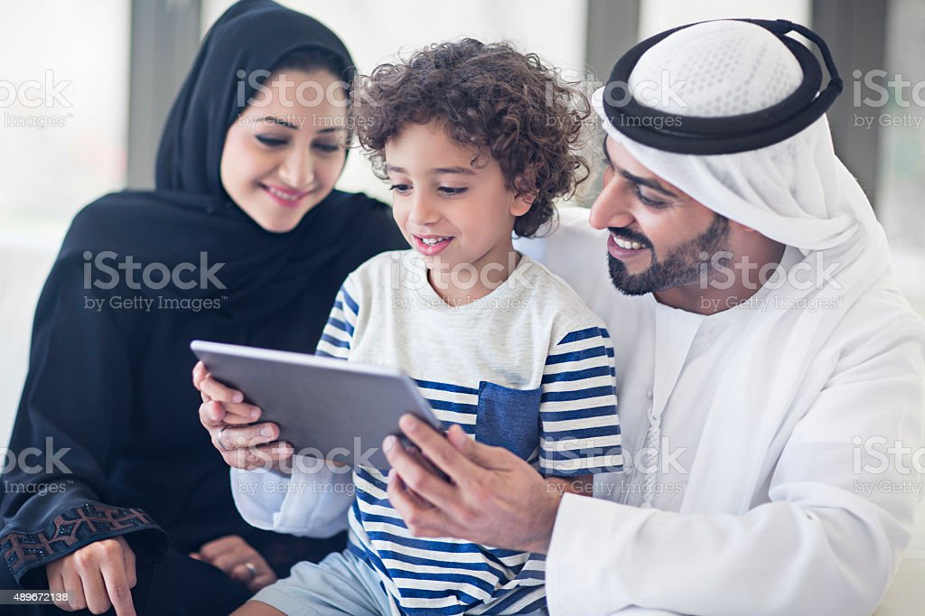 Teaching with the digital tablet stock photo