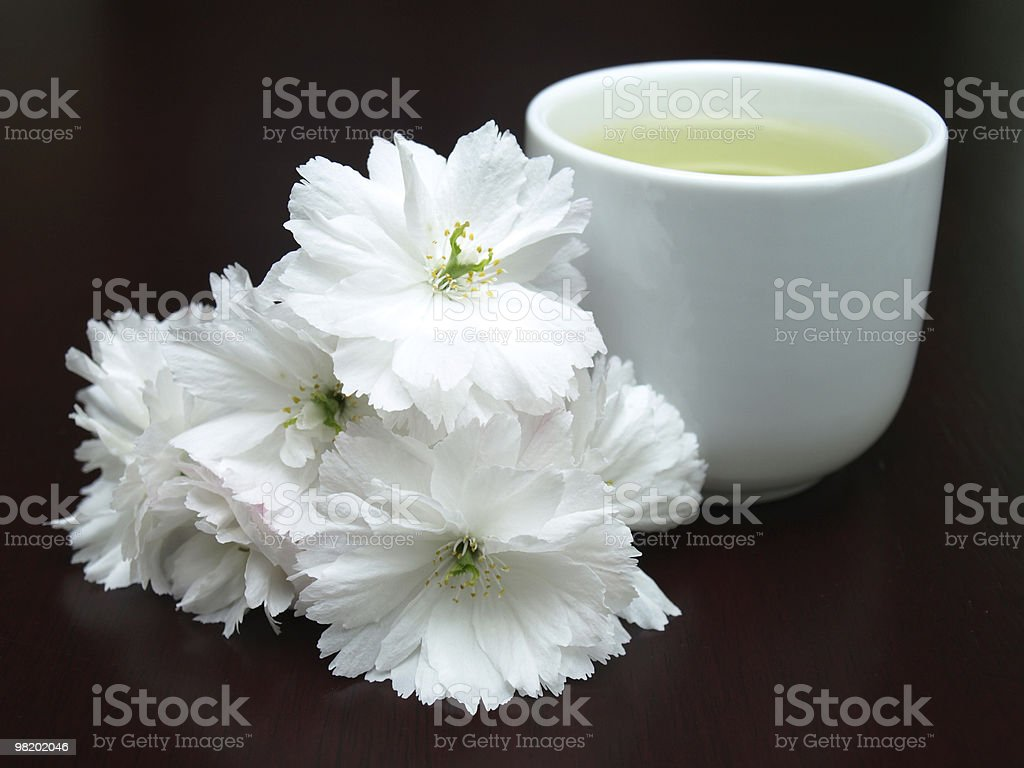 Teacup and Flowers on a table royalty-free stock photo