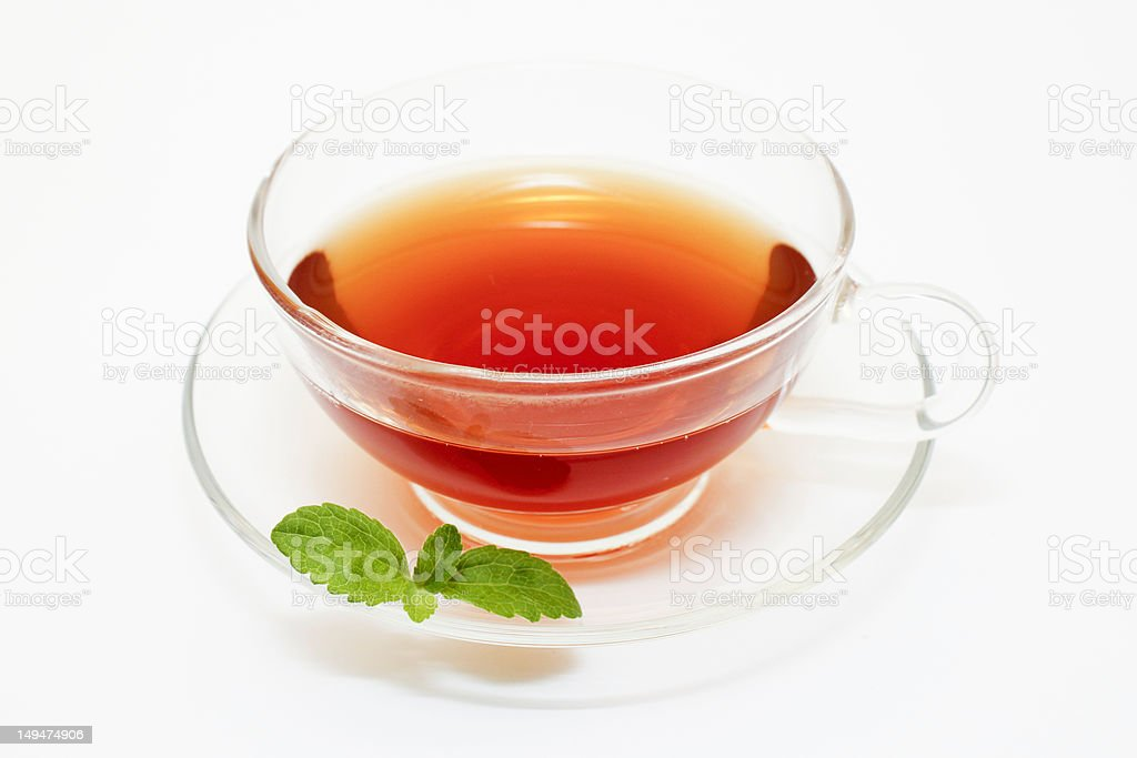 Teacup and Stevia Leaf royalty-free stock photo