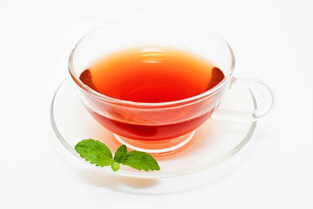 Teacup and Stevia Leaf stock photo