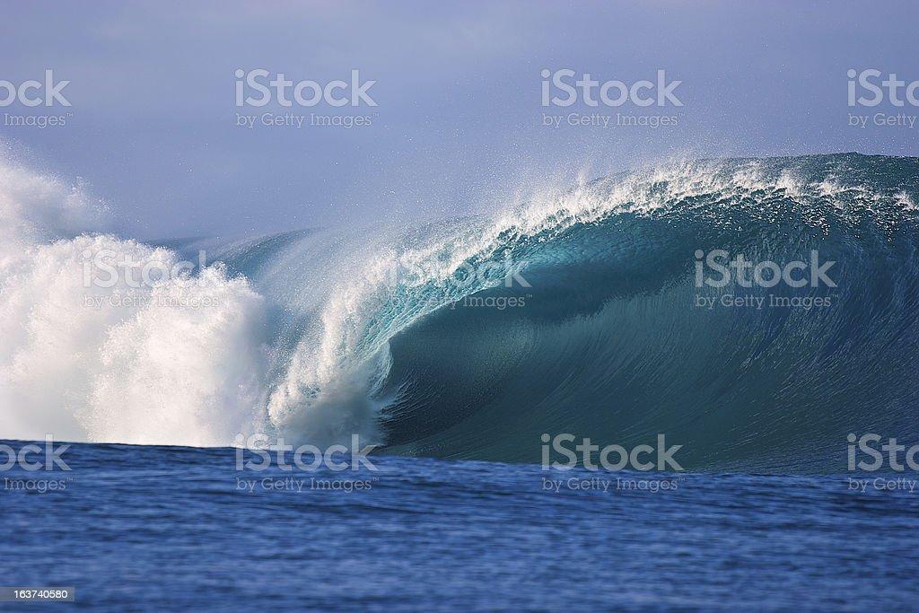 Teahupoo wave in Tahiti stock photo
