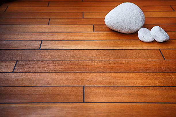Teak decking -  wooden background stock photo