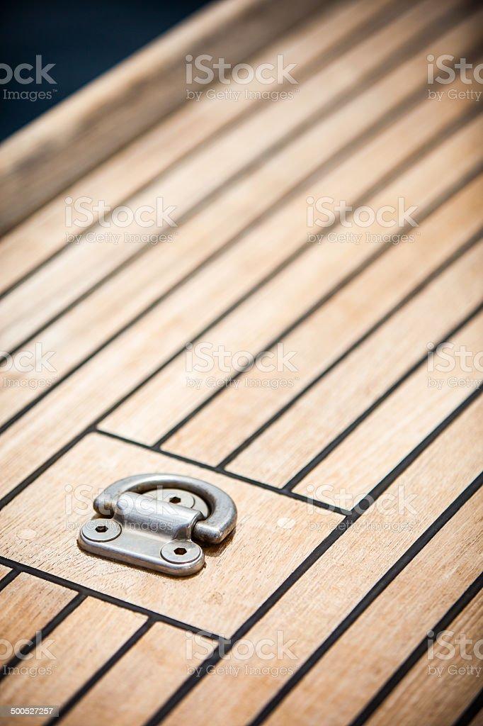 Teak sailboat deck stock photo