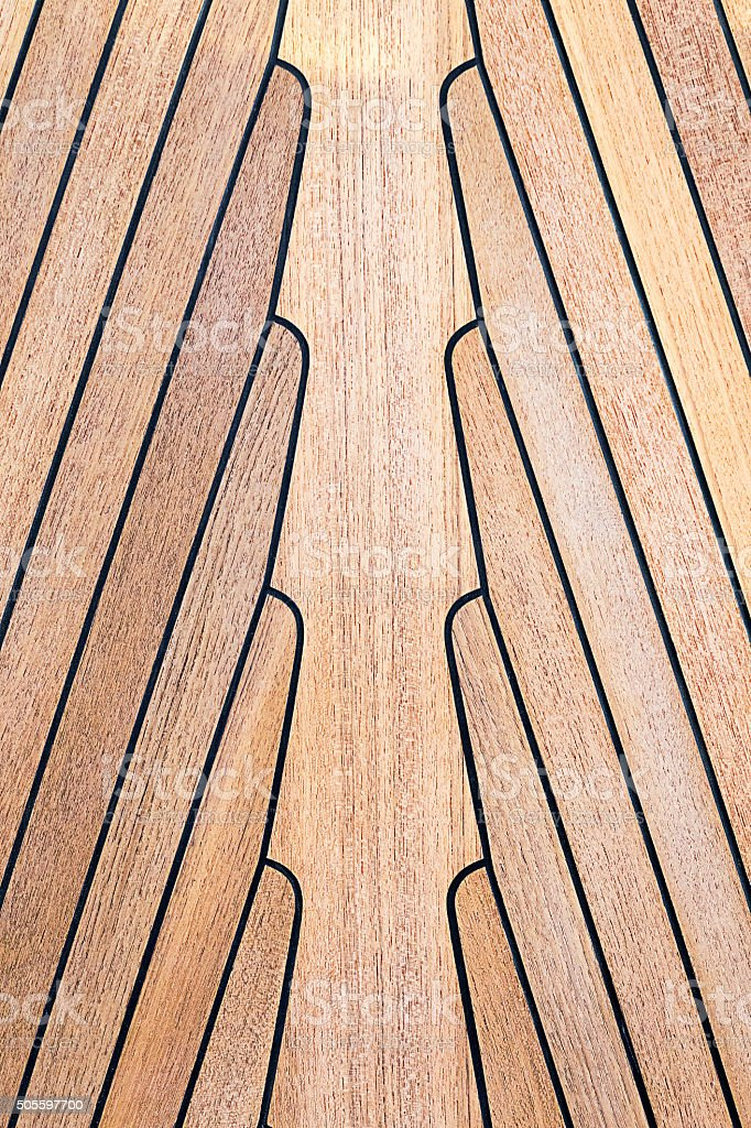 Teak wood on boat, texture stock photo