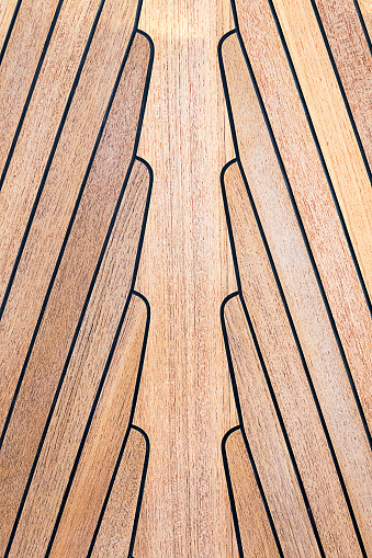 Teak Wood On Boat Texture Stock Photo - Download Image Now