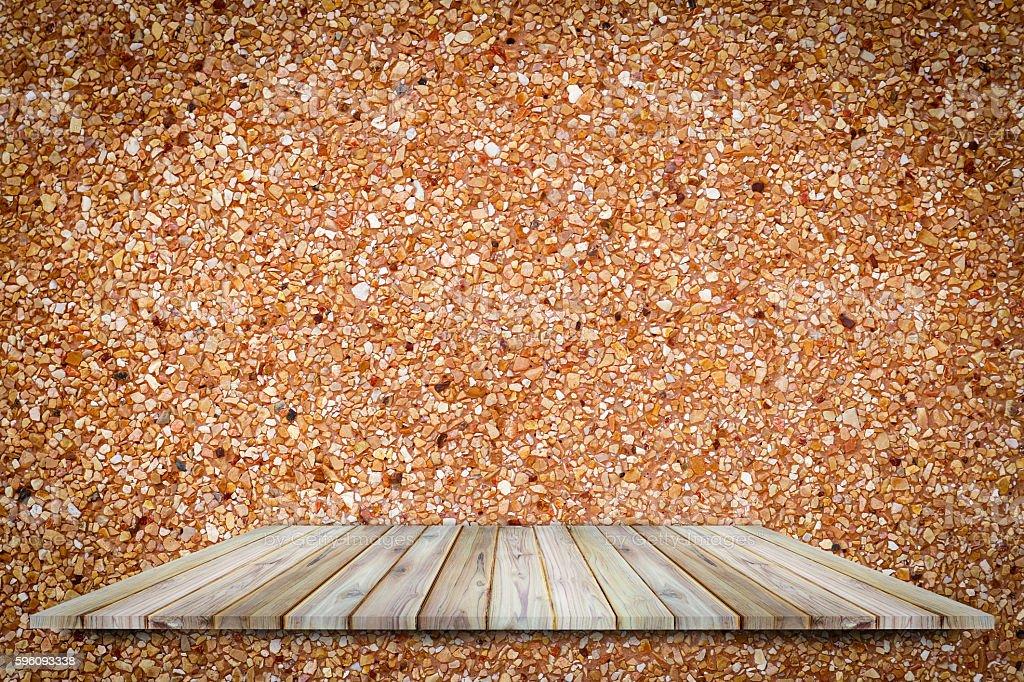 Teak wood shelf on concrete rough surface use for background. Lizenzfreies stock-foto