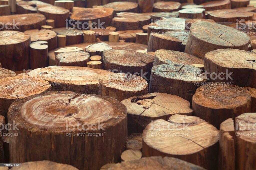 Teak wood stump background stock photo