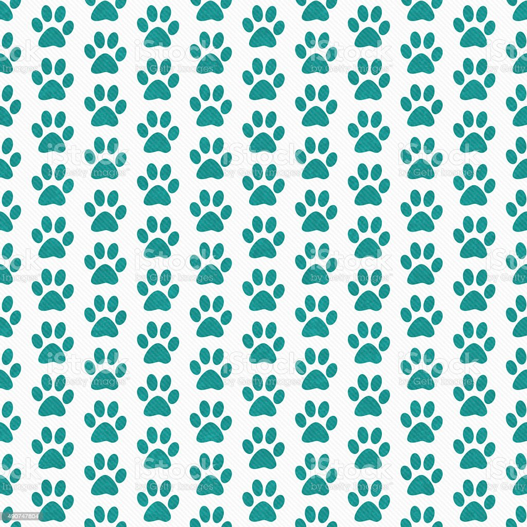 Teal and White Dog Paw Prints Tile Pattern Repeat Background stock photo