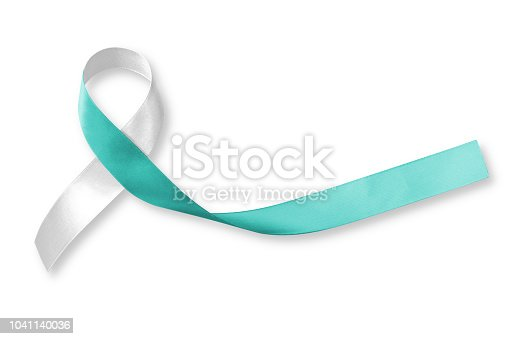 istock Teal and white ribbon (isolated on white background) for raising awareness on Cervical Cancer 1041140036