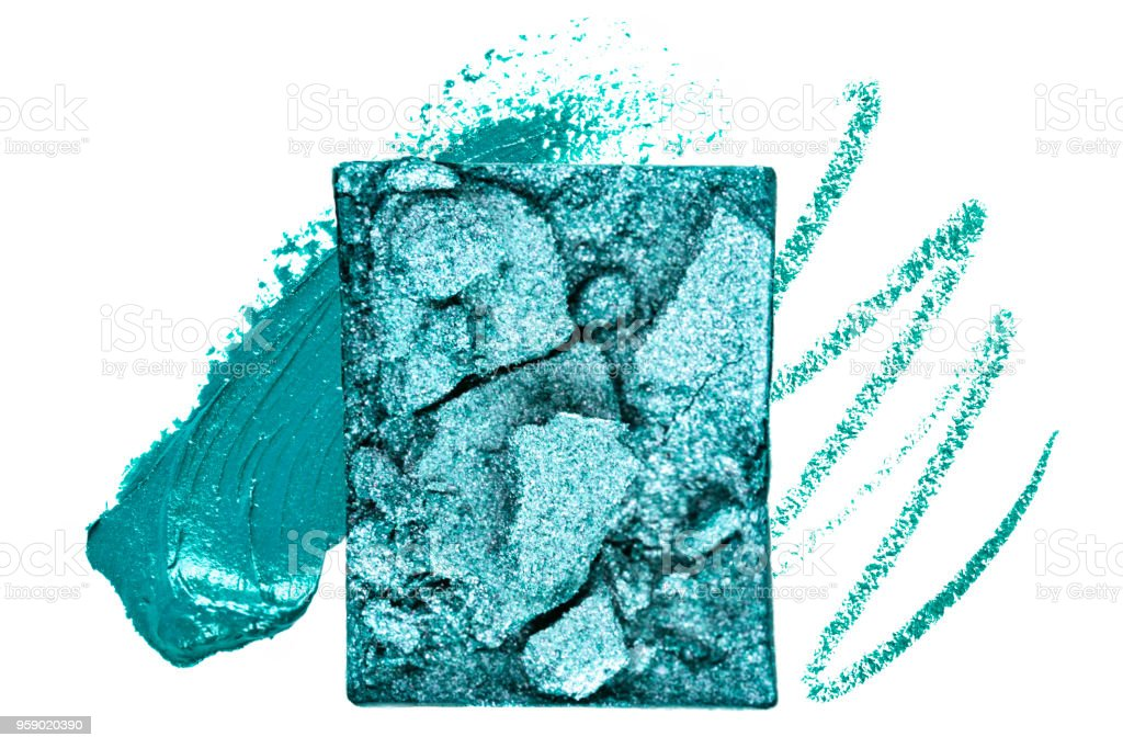 Teal Blue Crushed and Smudged Makeup stock photo