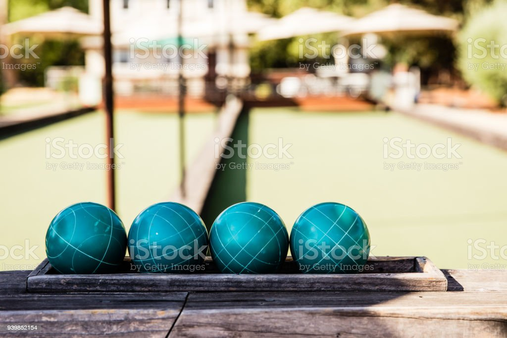 Teal Bocce Balls stock photo