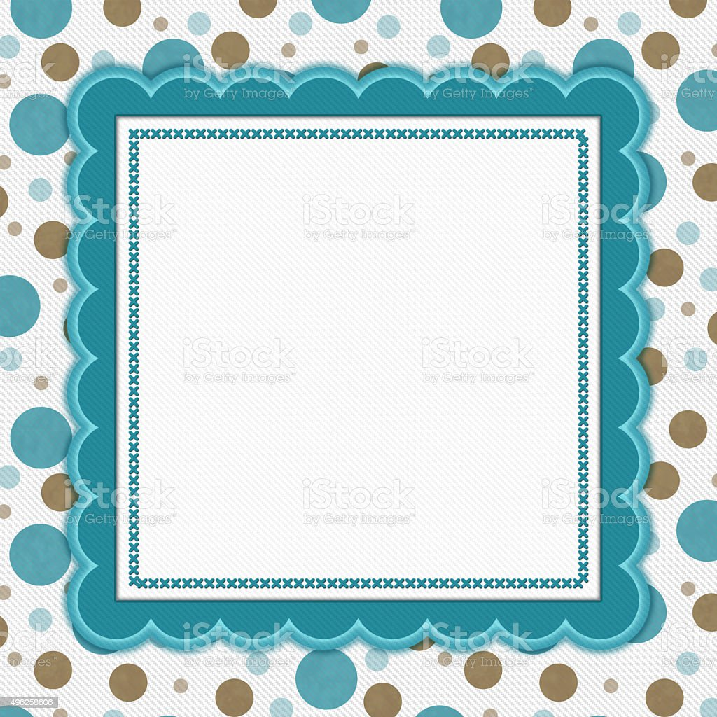 Teal Brown And White Polka Dot Frame Background stock photo | iStock