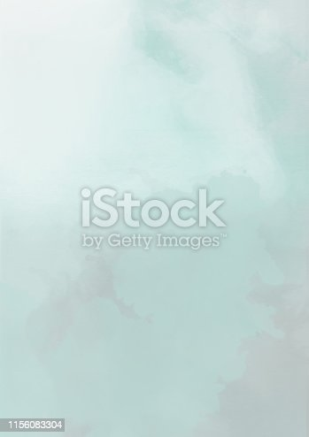 istock Teal colored watercolor cloudscape background, abstract illustration 1156083304