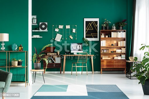 istock Teal interior with modern workspace 959027068