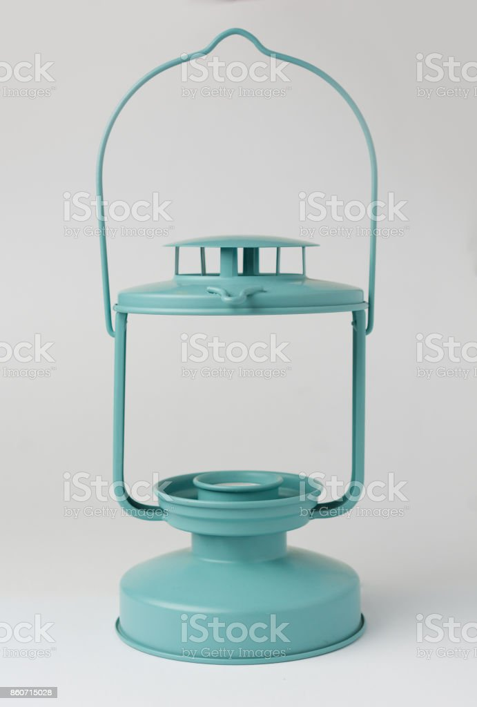 Teal Metal Candle Lantern on White Background Front View stock photo