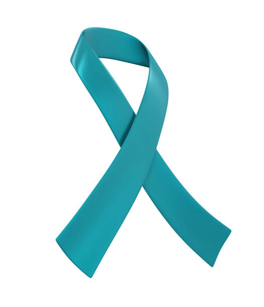teal ribbon ovarian cancer awareness - ovarian cancer ribbon stock pictures, royalty-free photos & images