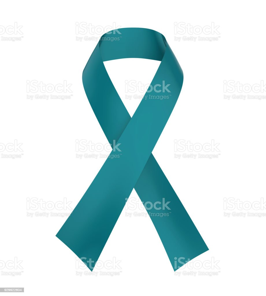 Teal Ribbon Ovarian Cancer Awareness stock photo
