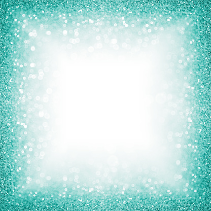 istock Teal Turquoise Aqua Glitter Border Frame or Sparkley Background for Christmas or Birthday 1061103446