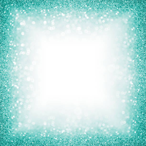 teal turquoise aqua glitter border frame or sparkley background for christmas or birthday - teal backgrounds stock photos and pictures