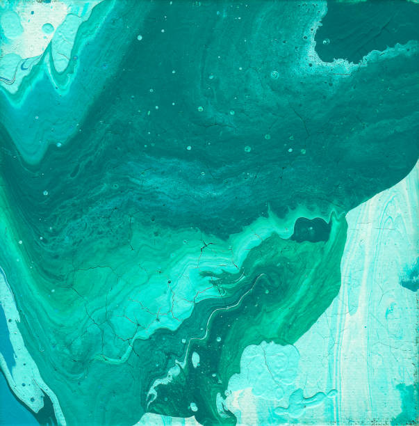 teal, turquoise, blue, and green fluid acrylic abstract painting with copy space - teal backgrounds stock photos and pictures