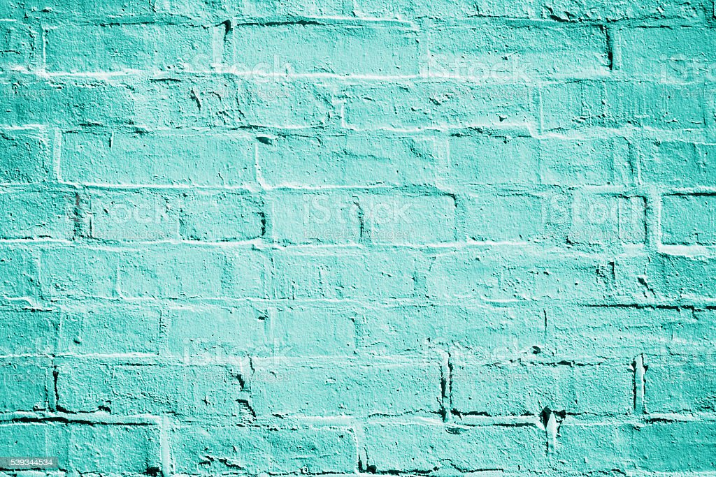Teal Turquoise Brick Wall Texture stock photo