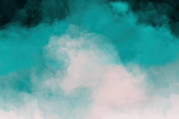 Teal Watercolor Painting stock photo