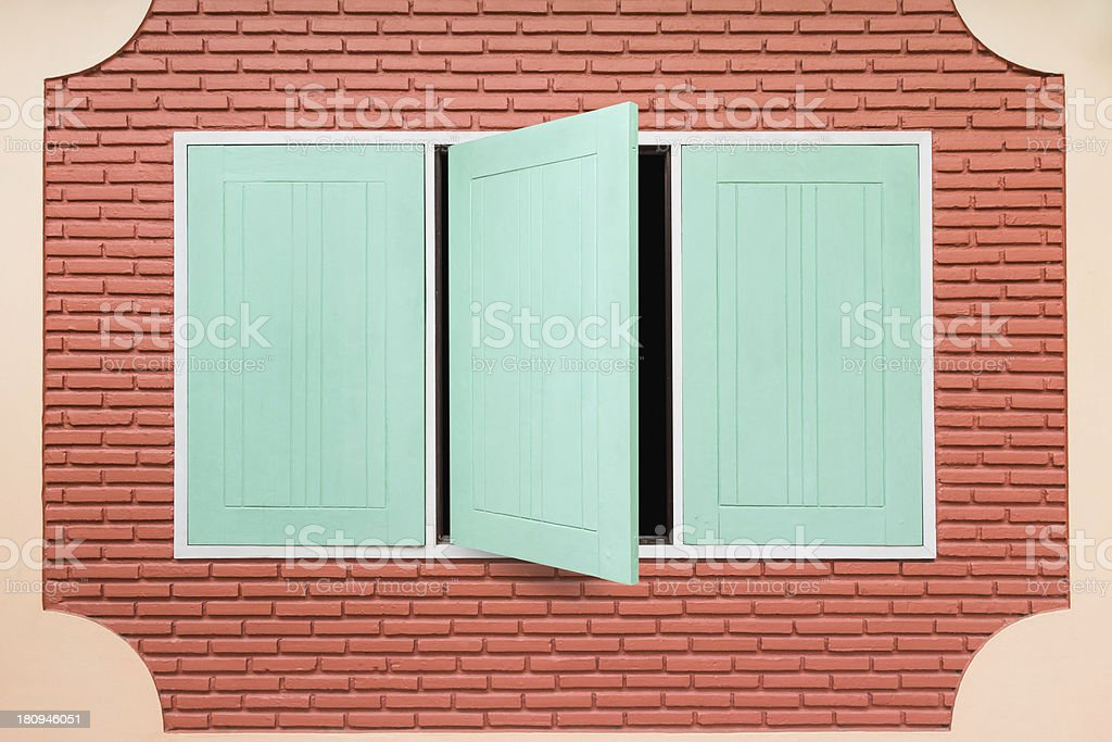 Teal wooden window royalty-free stock photo