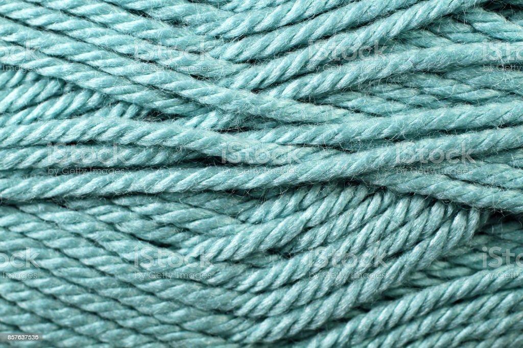 Teal Yarn Texture Close Up stock photo