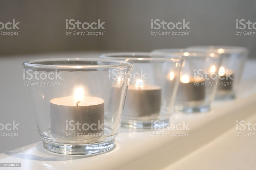Tealight candles on the bathtub royalty-free stock photo