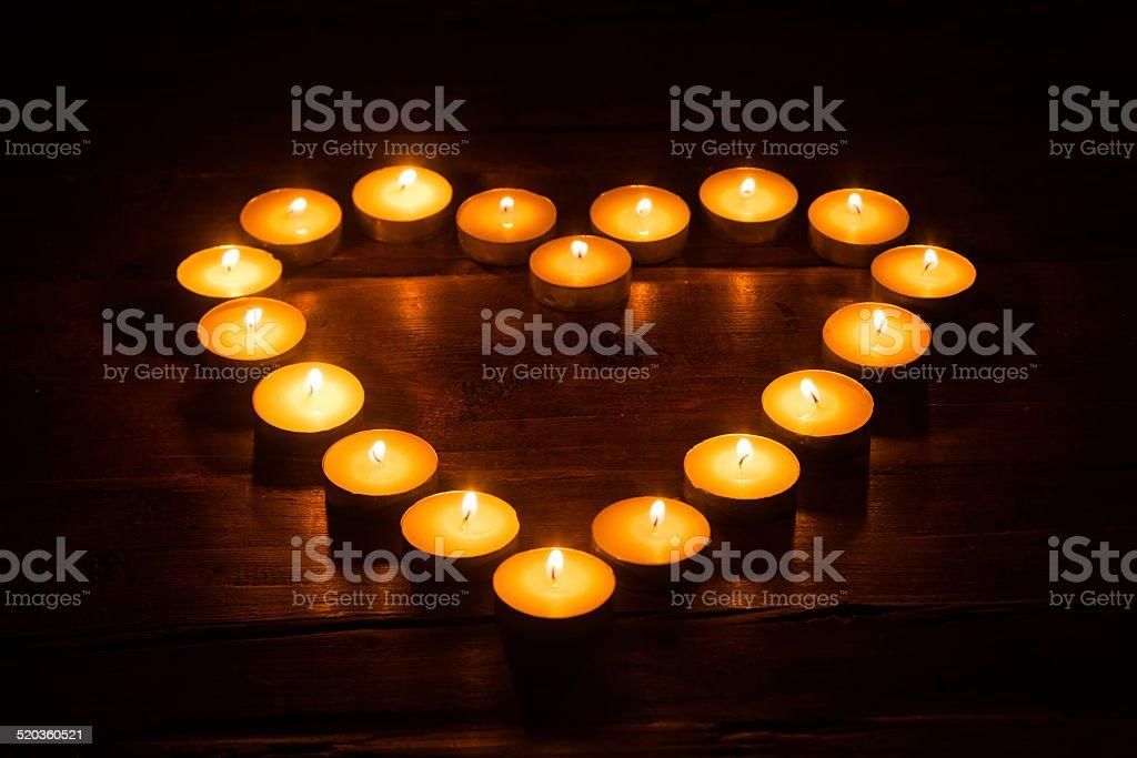 tealights in a heart shape stock photo