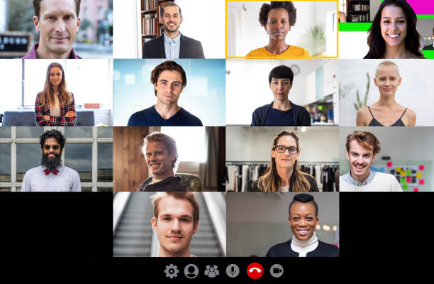 team and work partners conference call - video still stock pictures, royalty-free photos & images