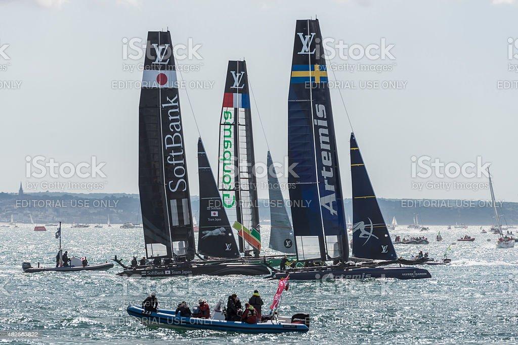 Team Artemis, Softbank, and Groupama America's Cup boats stock photo