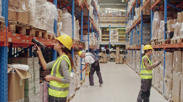 Team at warehouse checking inventory and making business calls stock photo