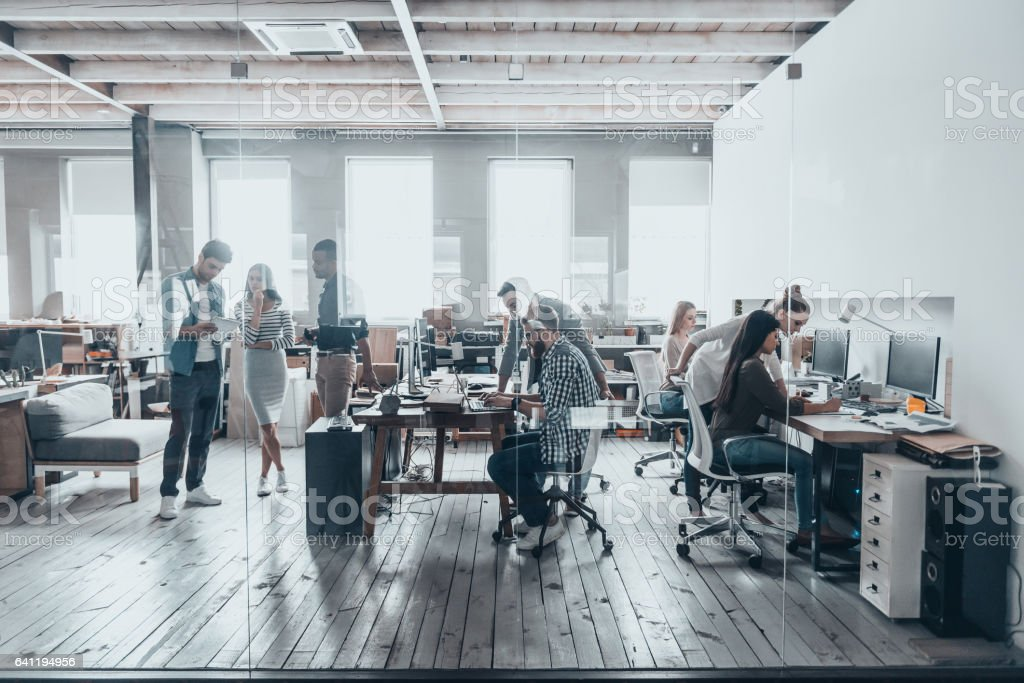 Team at work. stock photo