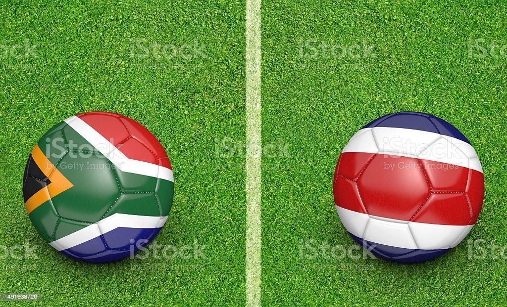 Team balls for South Africa vs Costa Rica soccer tournament stock photo