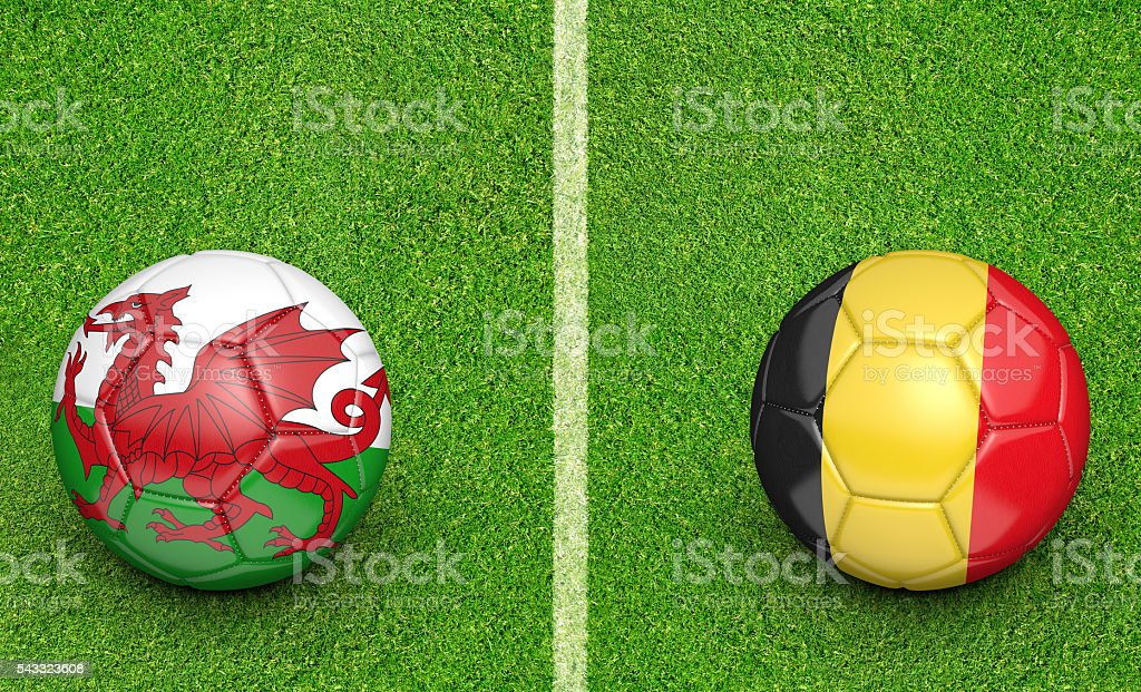 Team balls for Wales vs Belgium football tournament match stock photo