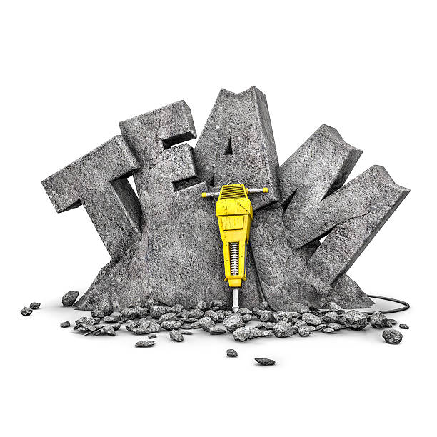 team building exercise - stone font stock photos and pictures