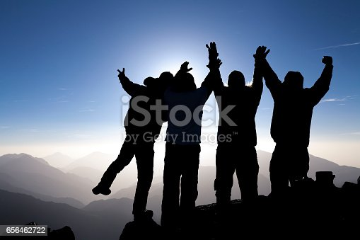 Team celebrating success on top of a mountain