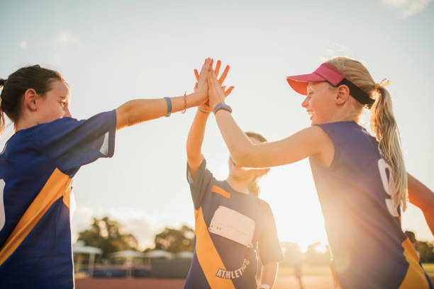 Team Celebration In Athletics Club stock photo