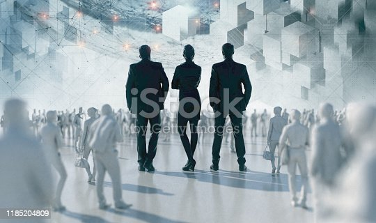 Team Corporate responsibility 3D Render. Unrecognizable group of business people stand in the middle of the crowd as a symbol of a leadership. Composite with digital futuristic background