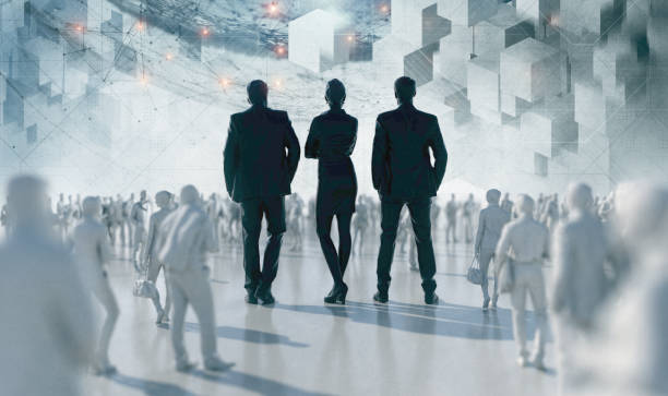 Team Corporate Responisibility Team Corporate responsibility 3D Render. Unrecognizable group of business people stand in the middle of the crowd as a symbol of a leadership. Composite with digital futuristic background living organism part stock pictures, royalty-free photos & images