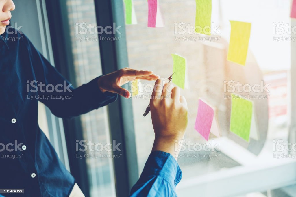 Team creative business  planning and thinking of ideas for success work project stock photo
