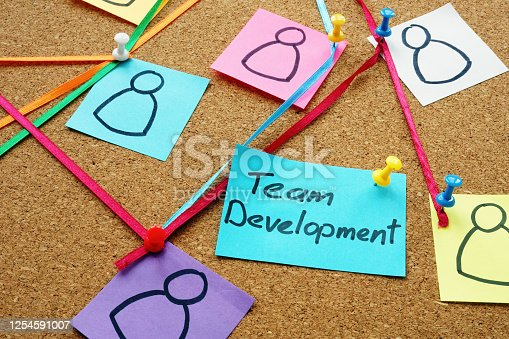 483424715 istock photo Team development sign on the board with pins and strings. 1254591007