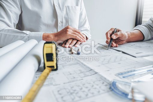Team Engineer drawing graphic planning and meeting for architectural project on workplace