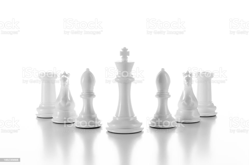 Team, group of white chess pieces isolated on white stock photo